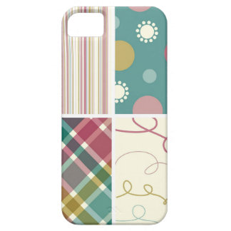 Retro Teal Purple Plaid Pattern Dots Scribbles iPhone SE/5/5s Case