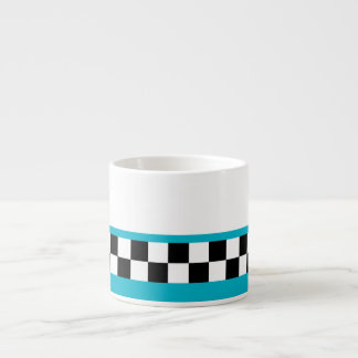 retro teal striped checkers espresso cup