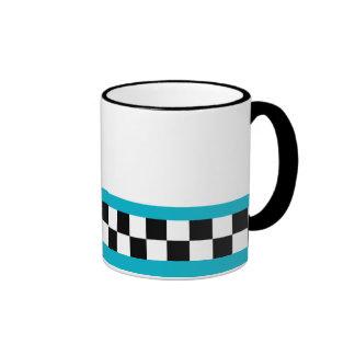 retro teal striped checkers ringer mug