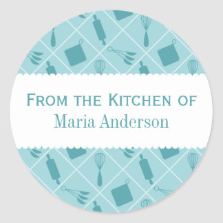 Retro Teal Utensils Round Kitchen Labels Classic Round Sticker