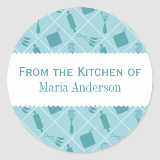 retro teal utensils round kitchen labels classic round With kitchen colors with white cabinets with how to print on round sticker labels
