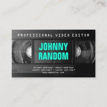 Retro tech VHS black white Business Card