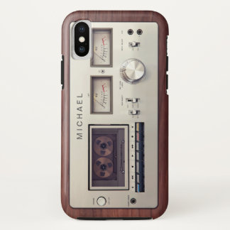 Retro Tech Vintage Stereo Recorder Wooden Cabinet iPhone X Case