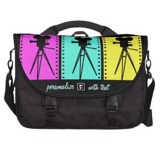Retro Technicolor Film Strip Camera Silhouettes Laptop Bag