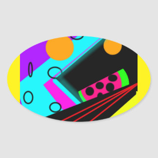 retro techno watermelon glossy oval stickers