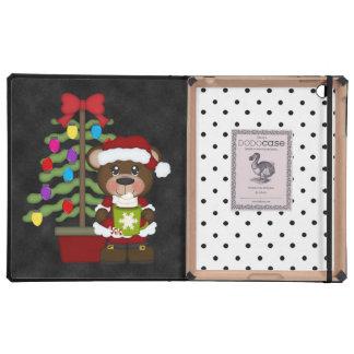 Retro Teddy Bear Christmas iPad Folio Case