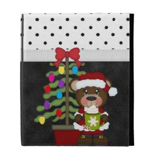 Retro Teddy Bear Christmas iPad Folio Cover