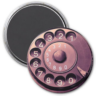 Retro telephone dial 3 inch round magnet