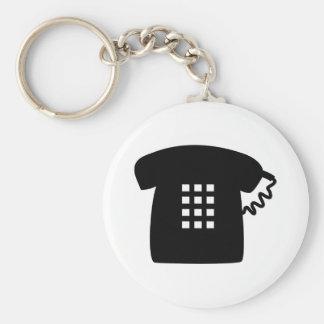 Retro Telephone Basic Round Button Keychain
