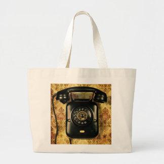 Retro telephone large tote bag
