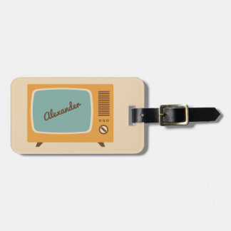Retro Television TV Set Personalized Luggage Tag