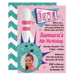 Retro Tenpin Bowling Party in Pink & Teal Photo Invitation