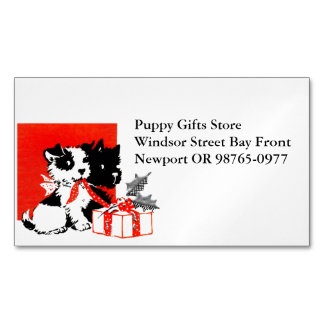 Retro Terrier and Scotty Dogs Magnetic Business Card