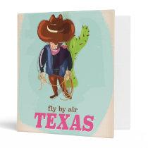 Retro Texan cartoon travel poster 3 Ring Binder