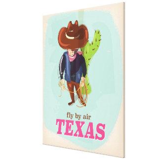 Retro Texas cowboy travel poster Canvas Print