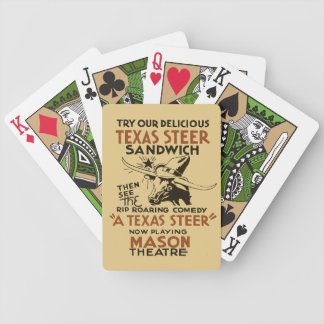 Retro Texas Steer Sandwich and theatre play ad Bicycle Playing Cards