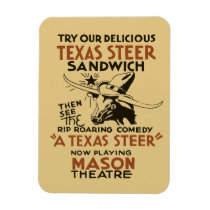 Retro Texas Steer Sandwich and theatre play ad Magnet