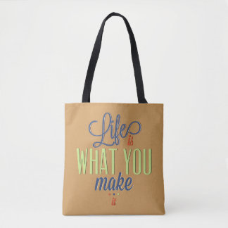 Retro Text Design: Life is what you make it Tote Bag