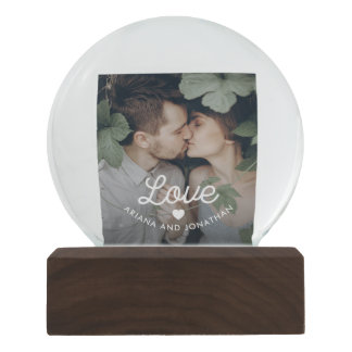 Retro Text | Love with Heart and Two Photos Snow Globe