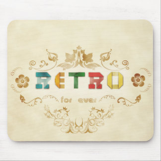 Retro Text Paper Design with Damask Mouse Pad