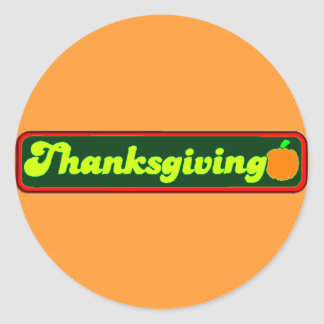 Retro Thanksgiving Decal Classic Round Sticker