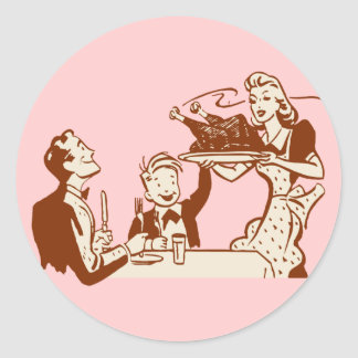 Retro Thanksgiving Dinner Classic Round Sticker