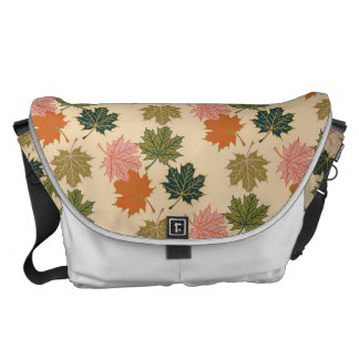 Retro Thanksgiving Fall Autumn Leaves Courier Bags