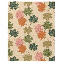 Retro Thanksgiving Fall Autumn Leaves Fleece Blanket