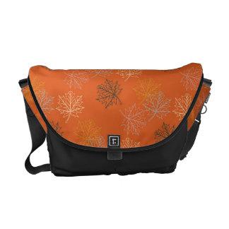 Retro Thanksgiving Fall Autumn Leaves Messenger Bags
