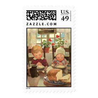 Retro Theme Children Giving Grace Postage Stamps