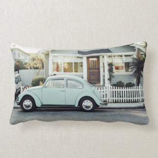 Retro Themed, A Retro Car Parked Out Side A House Lumbar Pillow