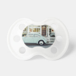 Retro Themed, A Retro Car Parked Out Side A House Pacifier