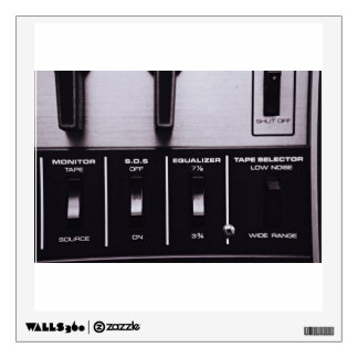 Retro Themed, Black And White Retro Radio Equalize Wall Sticker
