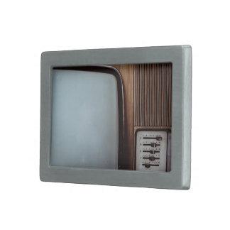 Retro Themed, Brown Woodgrain Vintage Television W Rectangular Belt Buckle
