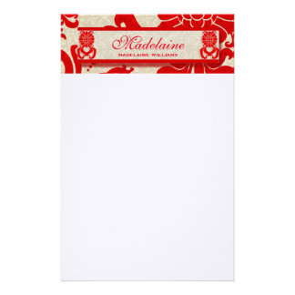 Retro Themed Red and Taupe Damask Custom Stationery