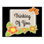 Retro Thinking of You Floral Butterfly Postcard