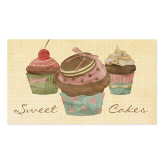Retro Three Cupcake Bakery Double-Sided Standard Business Cards (Pack Of 100)