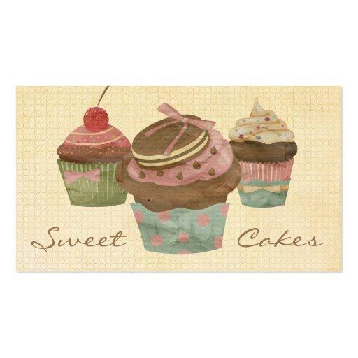 Retro Three Cupcake Bakery Business Cards