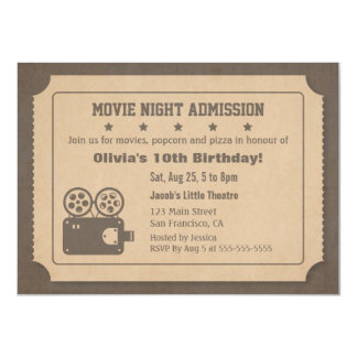 Retro Ticket Movie Night Birthday Party Card