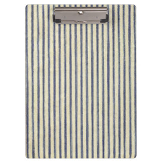 Retro Ticking Blue & White Striped Vintage French Clipboard