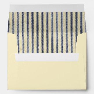 Retro Ticking Blue & White Striped Vintage French Envelope