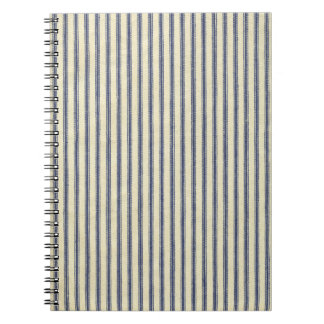 Retro Ticking Blue & White Striped Vintage French Notebook