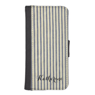 Retro Ticking Blue & White Striped Vintage French Phone Wallet Cases