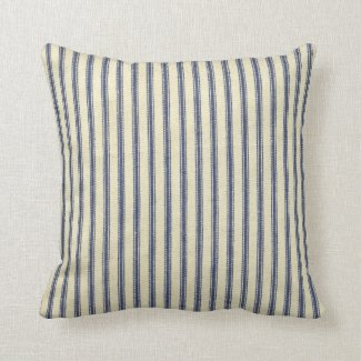 Retro Ticking Blue & White Striped Vintage French Throw Pillow