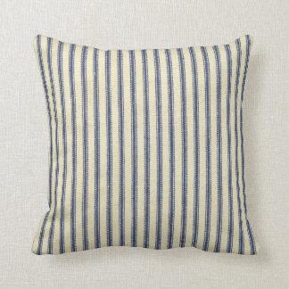 Retro Ticking Blue & White Striped Vintage French Throw Pillow