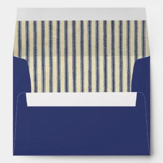 Retro Ticking Dark Blue & White Striped French Envelope
