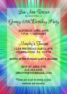 retro tie dye 65th birthday party invitation