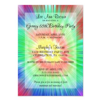 Retro Tie Dye 65th Birthday Party Invitation