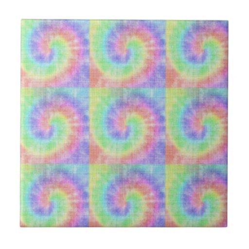 Retro Tie Dye Pastel Pattern Swirl Tiles from Zazzle.