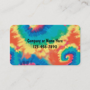retro tie dye style business cards